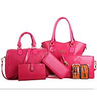 お買い得  特別セール-女性 バッグ PU バッグセット 6個の財布セット ジッパー のために カジュアル 春 秋 ブラック ベージュ イエロー フクシャ ワイン