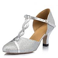 billige Moderne sko-Dame Moderne Nubuck Skinn Sandaler Kubansk hæl Sølv Kan spesialtilpasses