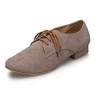 billige Moderne sko-Latin Lær Joggesko Trimmer Lav hæl Grå Kan spesialtilpasses
