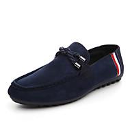 tanie Obuwie męskie-Męskie Buty PU Nubuk Wiosna Jesień Mokasyny Comfort Mokasyny i pantofle na Casual Black Czerwony Niebieski