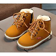 tanie Obuwie chłopięce-Dla chłopców Buty Derma Wiosna Jesień Comfort Kozaki na obcasie Buciki na Casual Black Yellow Burgundowy