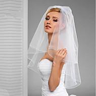 Duas Camadas Corte da borda Véu Véus de Noiva Véu Cotovelo Com Vime Fru-Fru Tule