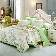 cheap Floral Duvet Covers-Duvet Cover Sets Floral 100% Cotton Cotton Jacquard Jacquard 4 Piece