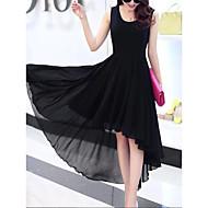 שחור מותניים גבוהים א-סימטרי שכבות מרובות קפלים, צבע אחיד - שמלה נדן שיפון סווינג סגנון רחוב ליציאה בגדי ריקוד נשים / פרחוני
