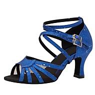 baratos Sapatilhas de Dança-Mulheres Sapatos de Dança Latina Cetim Sandália / Salto Salto Personalizado Personalizável Sapatos de Dança Azul marinho / Profissional