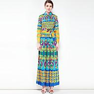 Žene Boho Swing kroj Haljina - Osnovni, Cvjetni print Color block Kragna košulje Maxi