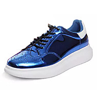 cheap Women's Sneakers-Women's Shoes Patent Leather Spring Fall Comfort Sneakers Flat Heel Round Toe for Athletic Black Gray Red Blue