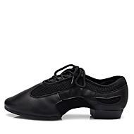 billige Jazz-sko-Dame Jazz-sko Nappa Lær Høye hæler / Splitt såle Flat hæl Kan spesialtilpasses Dansesko Svart