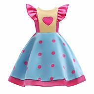 Niños Chica Casual A Lunares / Bloques Manga Corta Algodón Vestido Azul claro / Bonito
