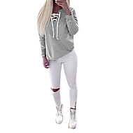Žene Pamuk Dugih rukava Sportska majica Jednobojni V izrez