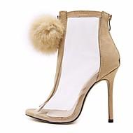Žene Cipele PU Proljeće Jesen Modne čizme Udobne cipele Čizme Stiletto potpetica za Crn Badem
