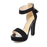 baratos Sandálias Femininas-Mulheres Sapatos Pele Nobuck Verão Tira no Tornozelo Sandálias Salto Robusto Dedo Aberto Mocassim para Festas & Noite Preto Camel