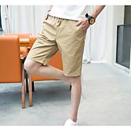 Homens Normal Simples Cintura Média Micro-Elástica Shorts Calças, Poliéster Primavera/Outono Verão Sólido
