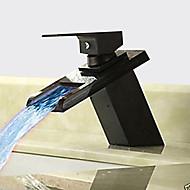 hesapli İndirim Musluklar-Antik Tek Gövdeli Şelale Seramik Vana Tek Delik Tek Kolu Bir Delik Yağlı Bronz, Banyo Lavabo Bataryası