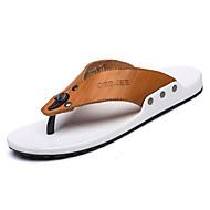 お買い得  メンズスリッパ&ビーチサンダル-男性用 靴 レザー 夏 コンフォートシューズ スリッパ&フリップ・フロップ のために カジュアル ブラック イエロー ライトブラウン ダークブラウン
