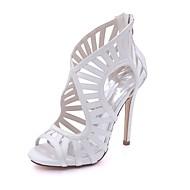 cheap Women's Sandals-Women's Shoes Satin Spring Summer Basic Pump Sandals Stiletto Heel Open Toe Buckle for Wedding Party & Evening Silver Dark Blue Red