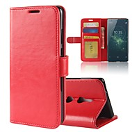 billiga Mobil cases & Skärmskydd-fodral Till Sony Xperia XZ2 / Xperia XA2 Ultra Plånbok / Korthållare / med stativ Fodral Enfärgad Hårt PU läder för Xperia XZ2 Compact / Xperia XZ2 / Xperia XA2 Ultra