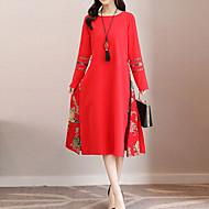 Pentru femei Concediu Linie A Larg Swing Rochie - Imprimeu, Floral Lungime Genunchi Roșu
