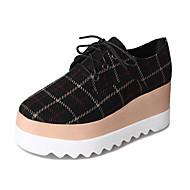 abordables Oxfords pour Femme-Femme Chaussures Tissu Printemps Confort Oxfords Creepers Bout rond Noir / Beige / Café