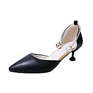 abordables Talons pour Femme-Femme Chaussures Polyuréthane Printemps / Eté club de Chaussures Sandales Talon Bas Bout rond Boucle / Fermeture Blanc / Noir / Rose
