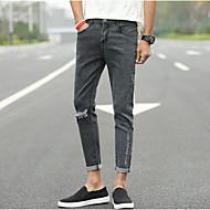 Pánské Bavlna Džíny Kalhoty - Děrování, Jednobarevné
