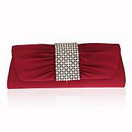 billige Designer Evening Bags-Dame Poser Ikke Vevet Aftenveske Krystalldetaljer / Perledetaljer Melkehvit / Mandel / Vin