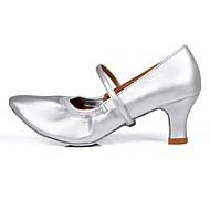"""billige Moderne sko-Dame Moderne Kunstlær TPU Høye hæler Trening Spenne Kubansk hæl Sølv 2 """"- 2 3/4"""" Kan spesialtilpasses"""