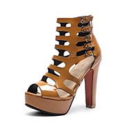 baratos Sapatos Femininos-Mulheres Sapatos Couro Ecológico Primavera / Verão Conforto / Inovador Sandálias Salto Robusto Peep Toe Presilha Preto / Amarelo / Nú