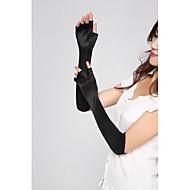 Damen Ellenbogen Länge Fingerlos Handschuhe Solide
