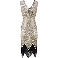 Veliki Gatsby Gatsby 1920-te Kostim Žene Haljine Crn Zlatan Vintage Cosplay Šifon Organza Bez rukávů