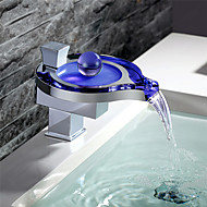 cheap Bathroom Sink Faucets-Contemporary Deck Mounted Waterfall LED Ceramic Valve Single Handle One Hole Chrome, Bathroom Sink Faucet