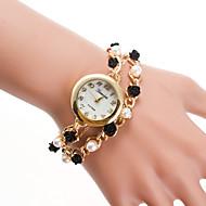 billige Quartz-Dame Damer Armbåndsur Quartz Afslappet Ur Legering Bånd Analog Perler Mode Guld - Guld