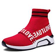billige Træningssko til herrer-Herre Bomuld / Syntetisk læder Forår / Sommer Komfort Sportssko Gang Sort / Rød
