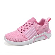 Women's Shoes Knit / Synthetic Microfiber PU Spring / Summer Comfort Sneakers Walking Shoes Flat Heel Round Toe Black / Gray / Pink