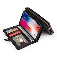 billiga Mobil cases & Skärmskydd-fodral Till Apple iPhone X Plånbok / Korthållare / Stötsäker Fodral Ensfärgat Hårt PU läder för iPhone X