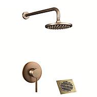 baratos Chuveiros-torneira do chuveiro - antigo / country antique brass / antique sistema de chuveiro de cobre válvula de cerâmica / único punho de três furos de banho chuveiro misturadores torneiras