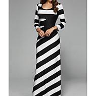 女性用 プラスサイズ ヴィンテージ フレアスリーブ コットン ボディコン ドレス - プリーツ, ソリッド マキシ