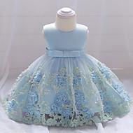 Bebê Para Meninas Activo Festa / Para Noite Floral Renda / Camadas / Estampado Sem Manga Algodão / Poliéster Vestido Rosa