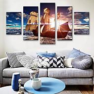 abordables Impresiones-Impresiones en Lienzo Estirado Modern, Cinco Paneles Lona Vertical Estampado Decoración de pared Decoración hogareña