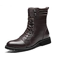 Muškarci Cipele Koža Mekana koža Proljeće Jesen Vojničke čizme Udobne cipele Čizme Čizme do pola lista za Kauzalni Vanjski Crn Tamno smeđa