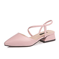 Dame Sko PU Sommer Komfort Sandaler Kraftige Hæle for Afslappet Sort Beige Gul Lys pink