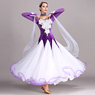 Klasični plesovi Haljine Žene Trening Seksi blagdanski kostimi Til Baršun Aplikacije Kristali / Rhinestones Dugih rukava Visok Haljina