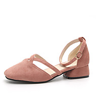 cheap Women's Sandals-Women's Shoes PU Summer Comfort Slippers & Flip-Flops Walking Shoes Chunky Heel Round Toe Hollow-out for Casual/Daily Black Pink Camel