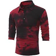 남성용 컬러 블럭 셔츠 카라 슬림 Polo, 베이직 / 긴 소매