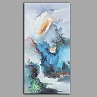 cheap Oil Paintings-Oil Painting Hand Painted - Landscape Floral / Botanical Comtemporary Modern Canvas