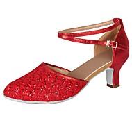 baratos Sapatilhas de Dança-Mulheres Sapatos de Dança Moderna Paetês / Courino Salto Lantejoulas / Presilha / Renda Salto Cubano Personalizável Sapatos de Dança