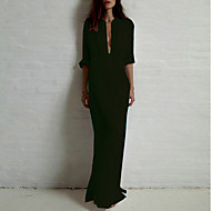 فستان نسائي قميص أساسي - قطن طويل للأرض لون سادة مرتفعة