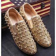 tanie Obuwie męskie-Męskie Buty Syntetyczny Wiosna Jesień Comfort Mokasyny i pantofle na Casual Gold Black
