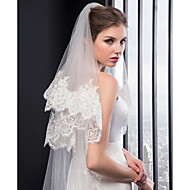 Two-tier Embroidery Wedding Veil Chapel Veils with Embroidery Tulle / Classic
