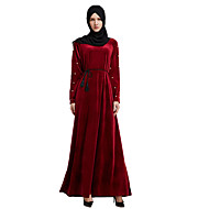 Women's Vintage Basic Jalabiya Abaya Dress - Solid Colored Maxi